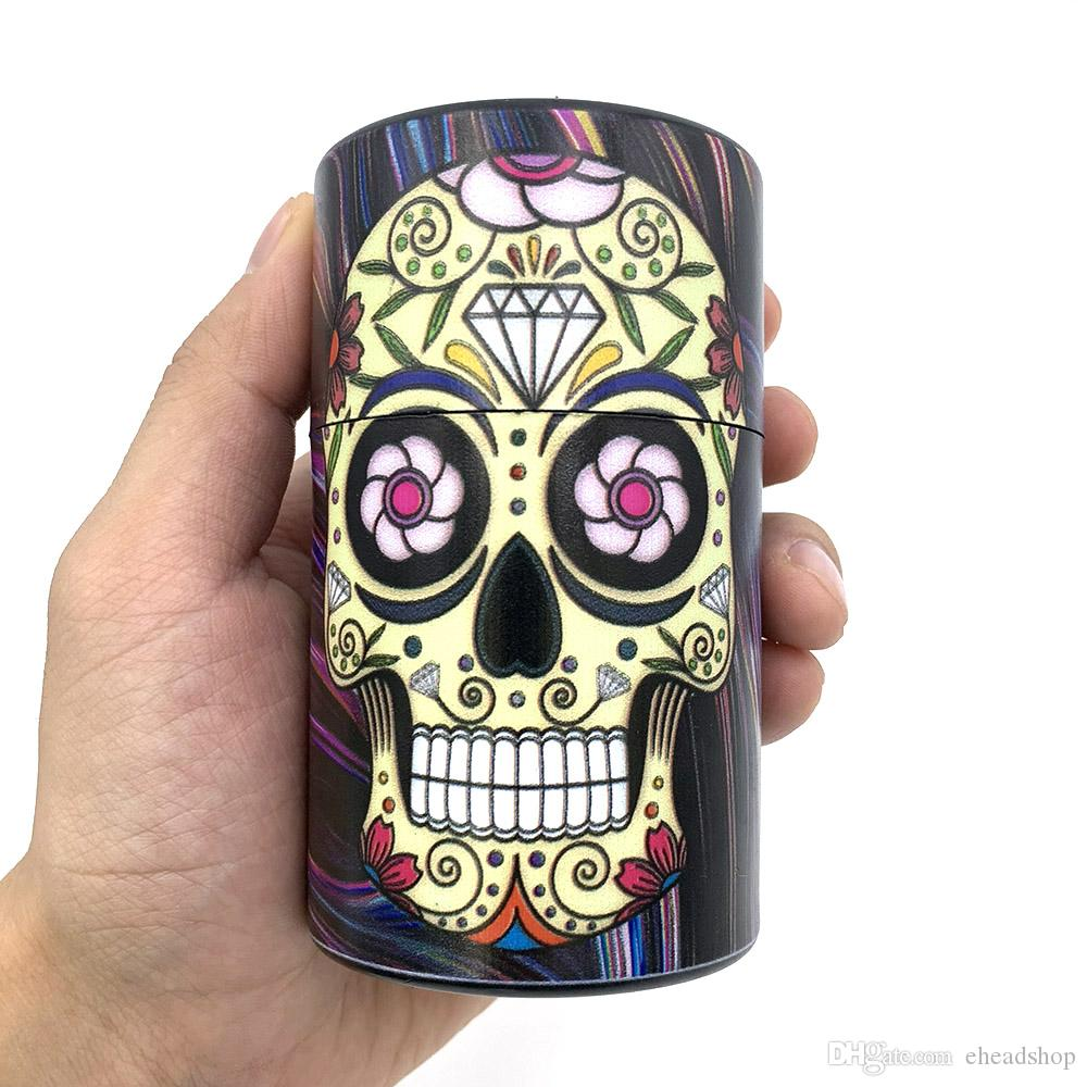 Airtight Tobacco Container Skull Pattern (2)